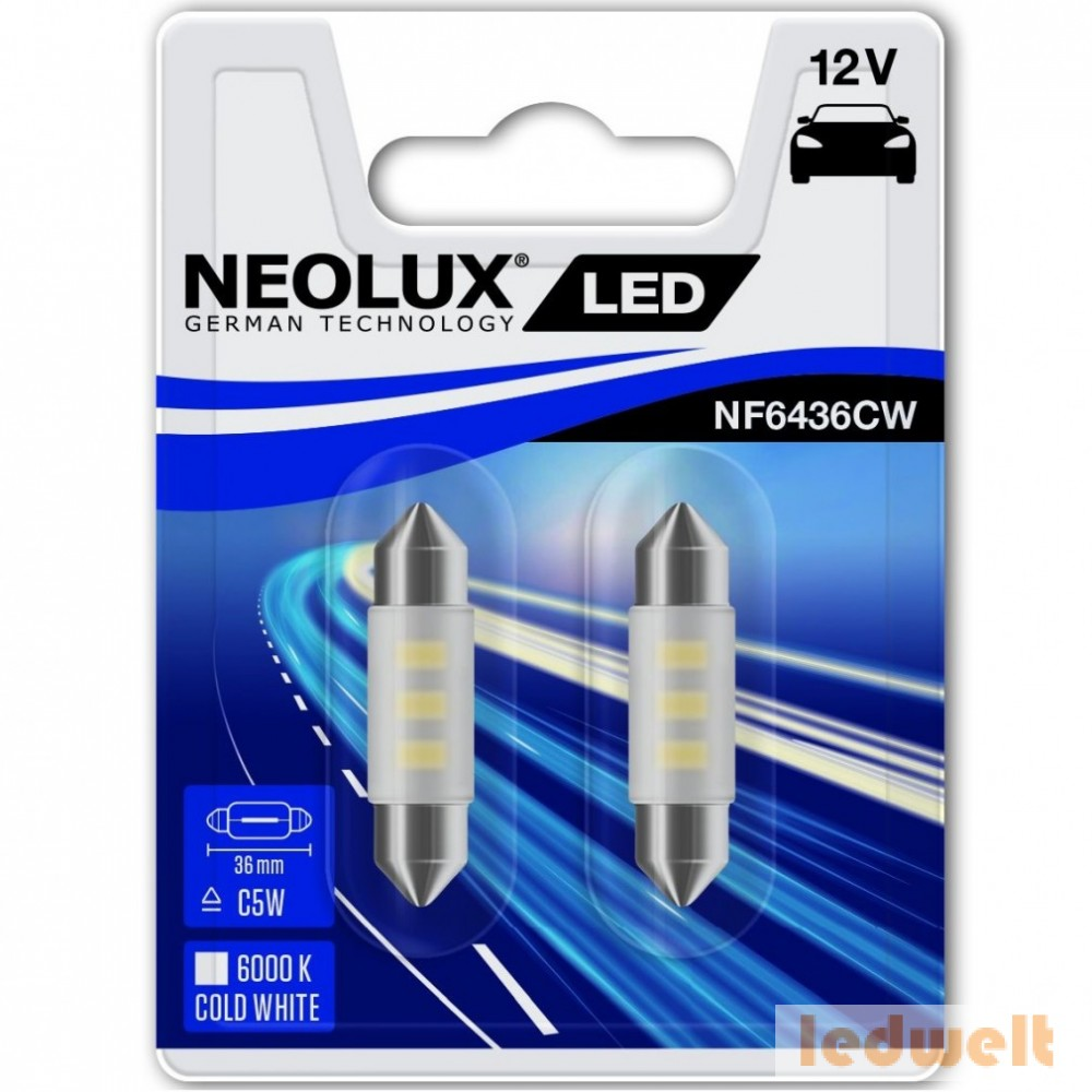 Neolux NF6436CW-02B 6000K 36mm szofita LED 2db/bliszter