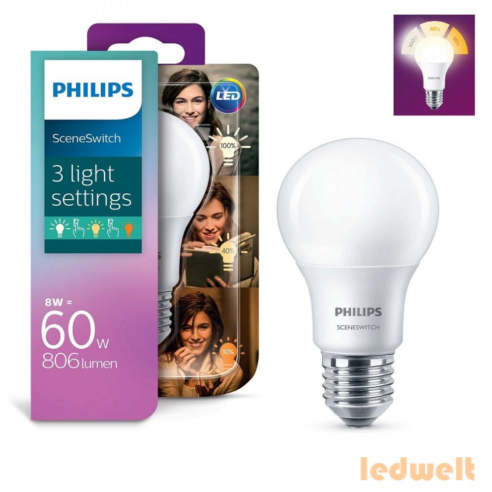 PHILIPS SceneSwitch A60 8W/2700K-5W/2500K-2W/2200K E27 WW FR LED - 2016/17