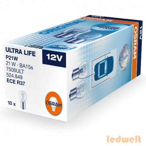 Osram Ultra Life 7506ULT P21W jelzőizzó 10db/csomag
