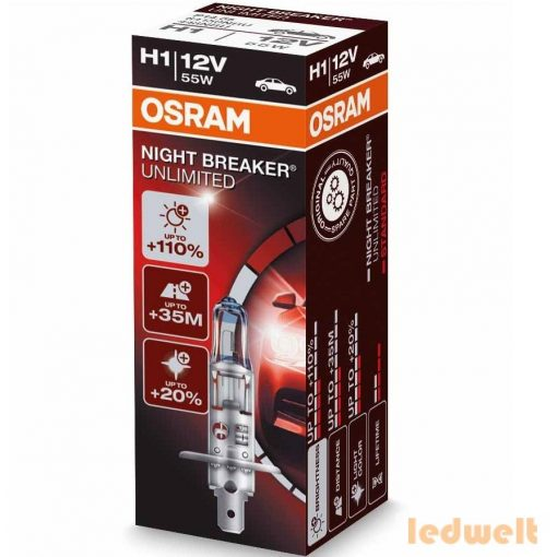 Osram Night Breaker UNLIMITED H1 izzó 64150NBU +110%  1db/doboz