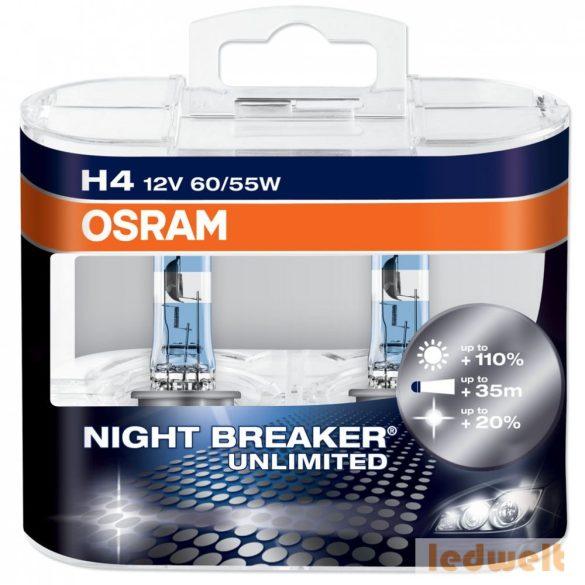 Osram Night Breaker Unlimited 64193NBU H4 izzó +110% 60/55W 2db/csomag