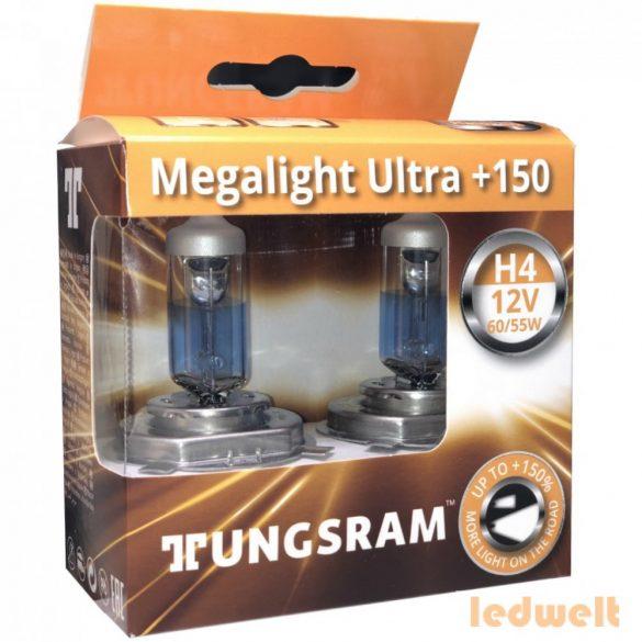 Tungsram Megalight Ultra H4 izzó +150% 50440NXNU 2db/csomag