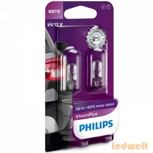 Philips Vision Plus +60% W5W izzó 12040VPB2 2db/csomag