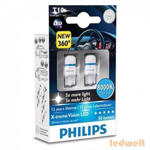 Philips X-treme Vision LED 360° W5W 8000K 2db/bliszter