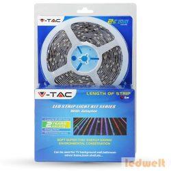 RGB LED szalag szett beltéri: 5 méter RGB+vezérlő+tápegység 5050-30