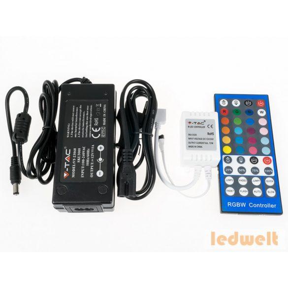 RGB LED szalag szett beltéri: 5 méter RGB+hideg f.+vezérlő+táp