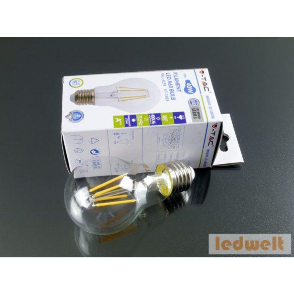 V-TAC E27 Filament LED lámpa 4 Watt (300°) - A60 meleg fehér